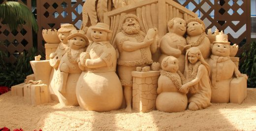 Christmas-themed sand sculpture
