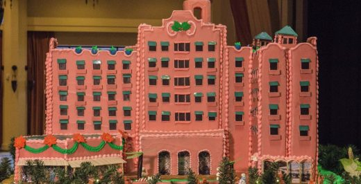 pink high-rise building miniature
