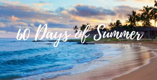 60 days of summer on shore background