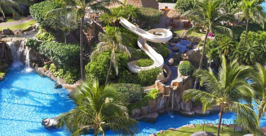 aerial photography of water resort with slide during daytime