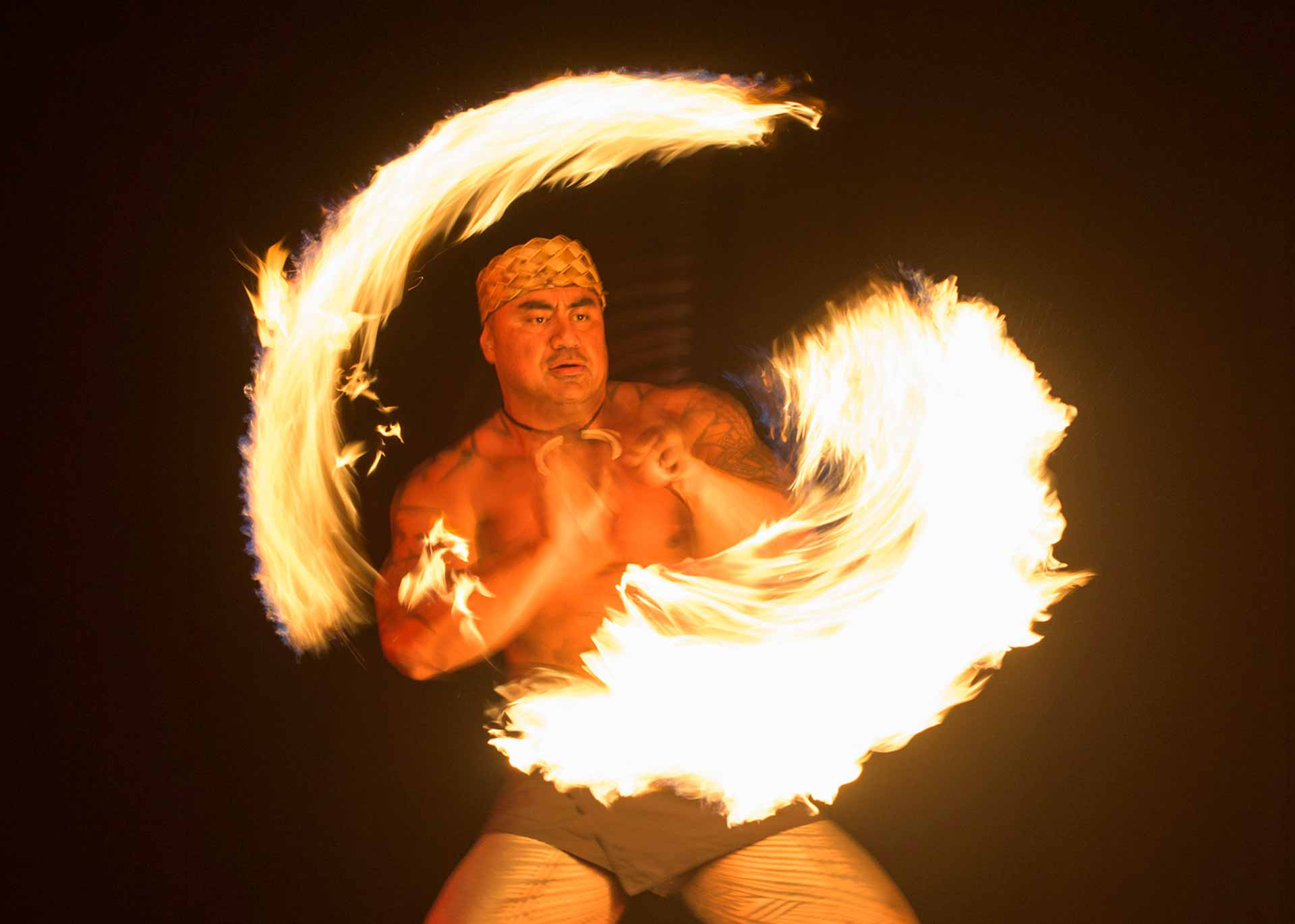 man performing fire dancing