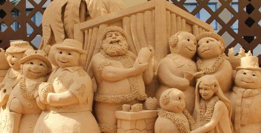 beige clay snowman statue set