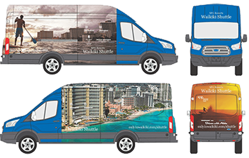 blue Ford Transit illustration
