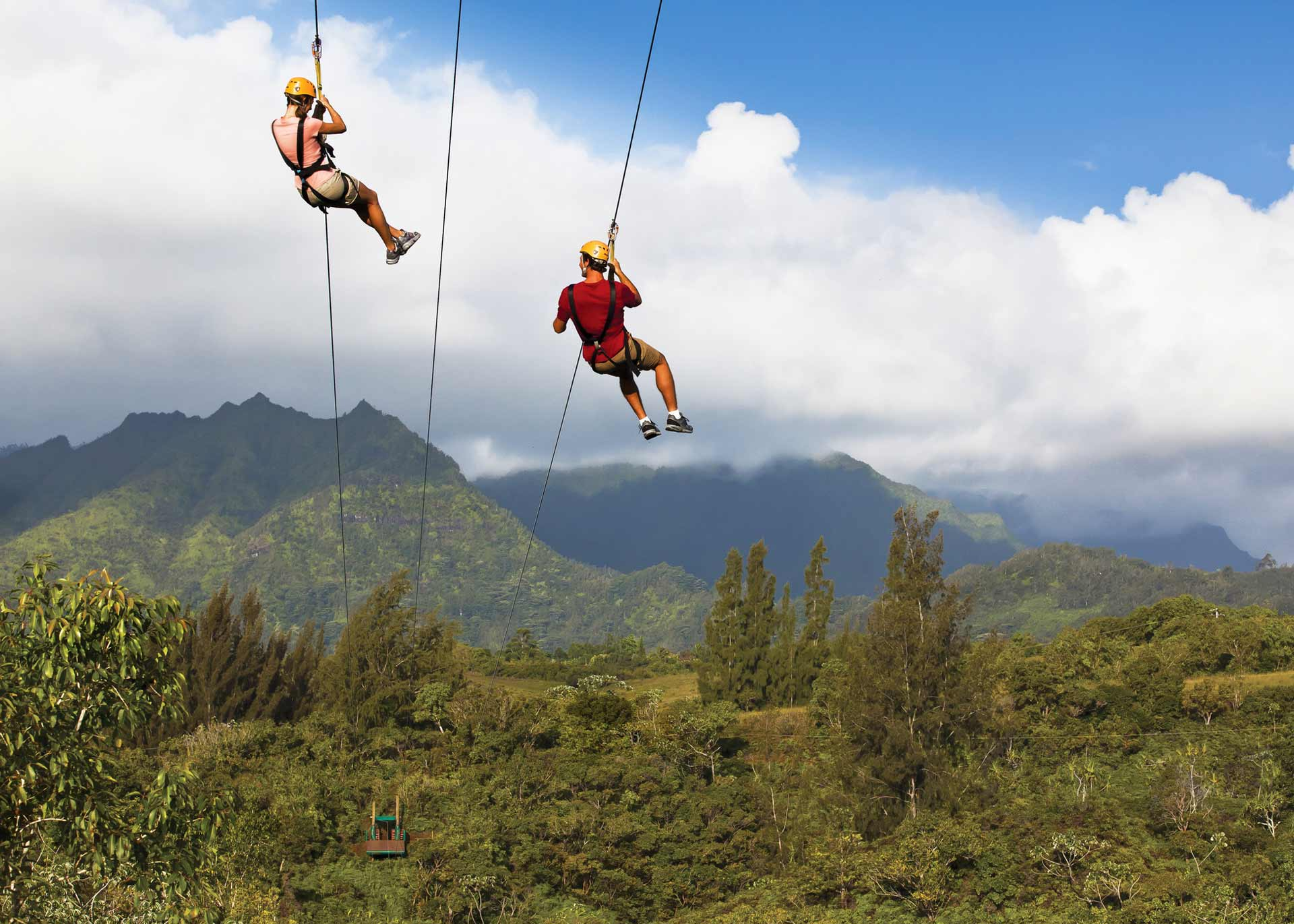 two person riding on zipline above forest during daytime