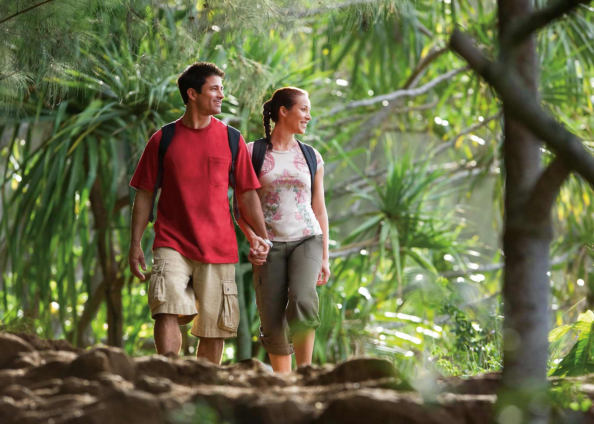 man and woman walking near green leafed trees during daytime