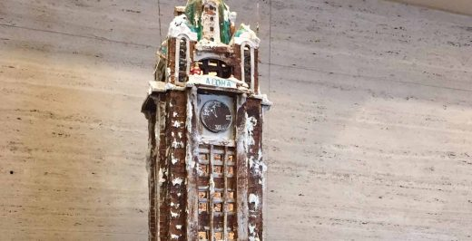brown clock tower scale model