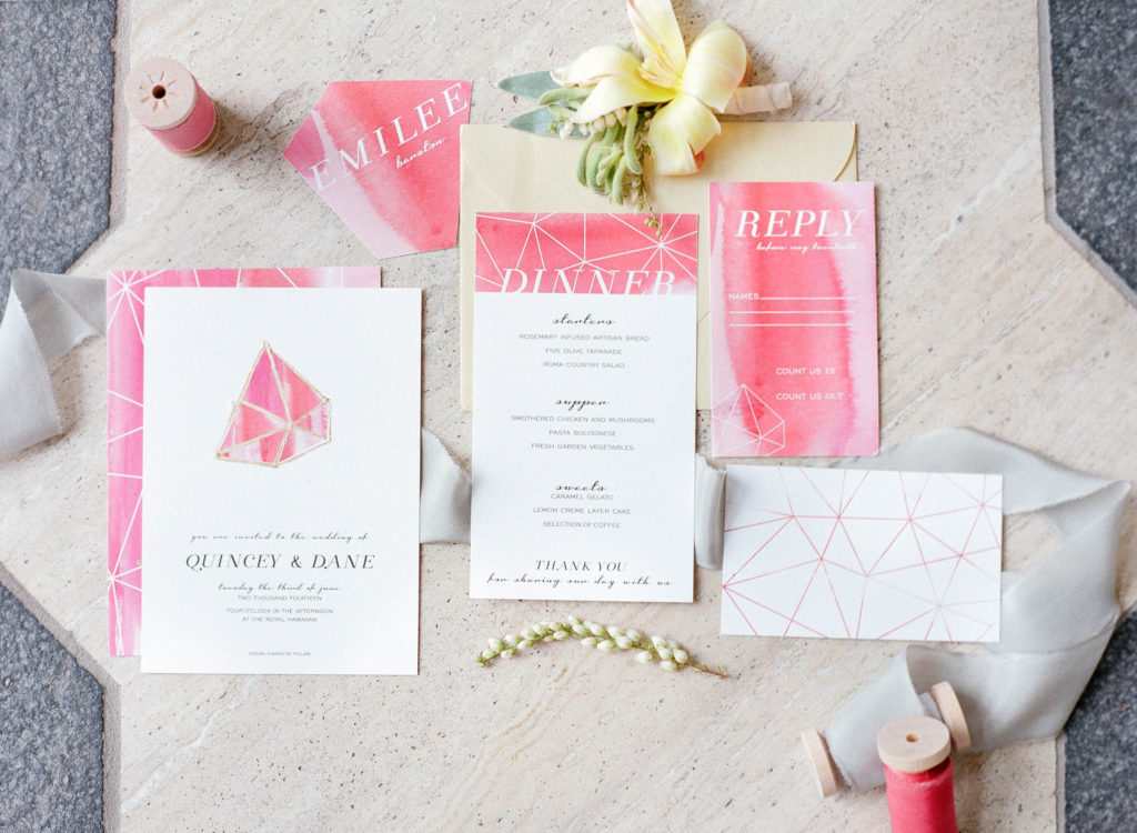 flat-lay photography of invitation cards
