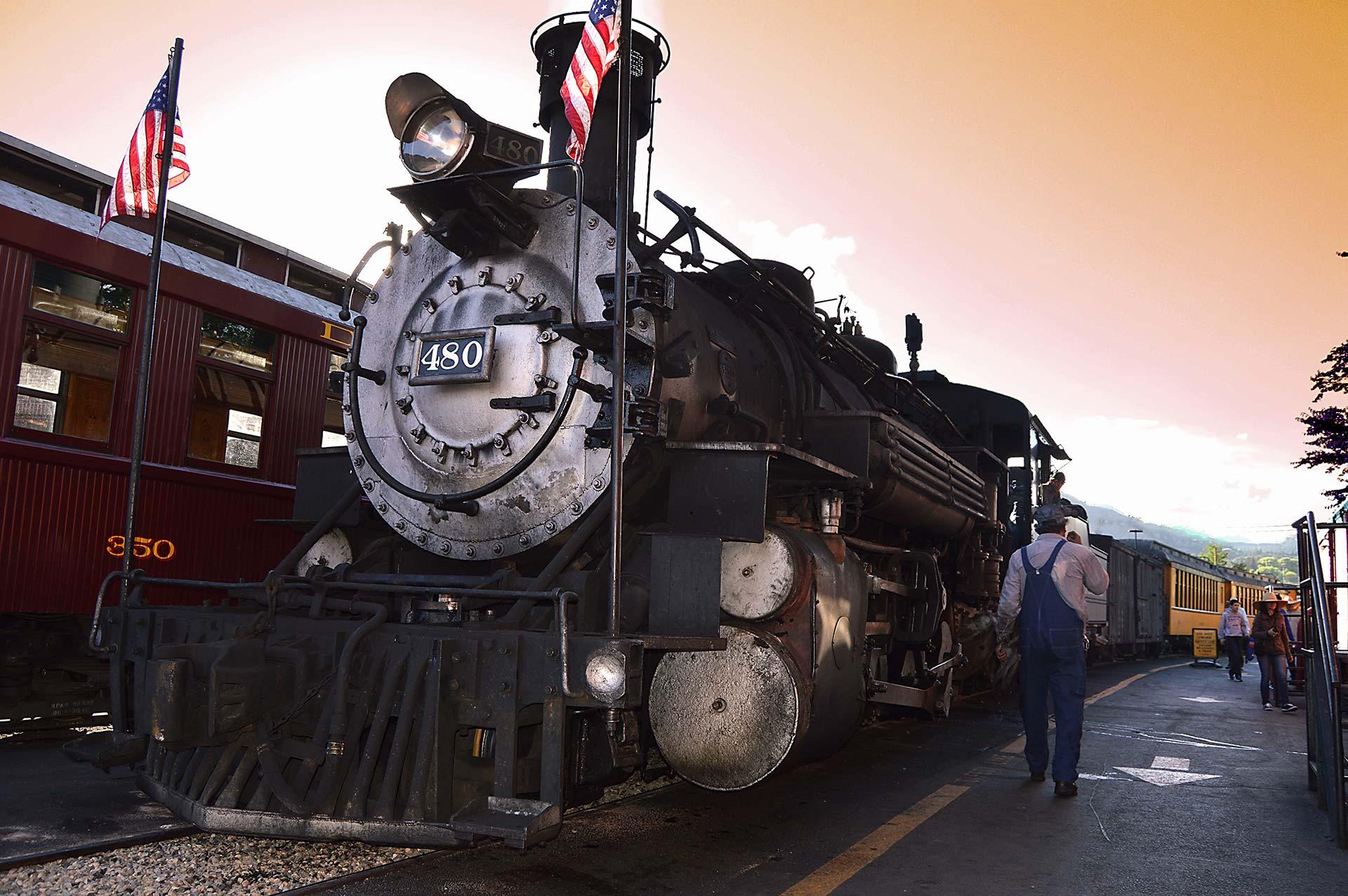 man beside train