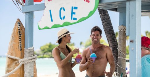 man holding ice shake