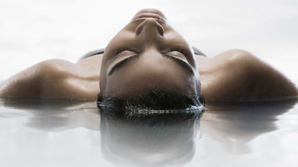 woman lying in water